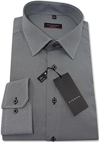 Eterna grau gemustertes Businesshemd langarm Modern Kent ohne Tasche Kollektion Größe 41