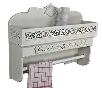 Wandregal Handtuchhalter Regal Holz Weiß Antik Landhaus Shabby