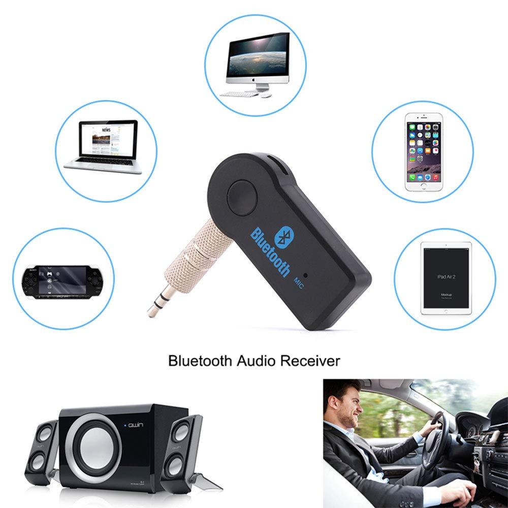 per auto adattatore audio Bluetooth con ingresso stereo da 3,5 mm Ricevitore Bluetooth casa cuffie e altoparlante