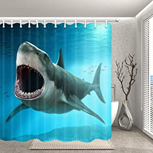JAWO Shark Shower Curtain for Bathroom, Great White Shark Marine Life Animals in deep sea Mildew Resistant Polyester Fabric Bath Curtains with Hooks 69X70 Inches