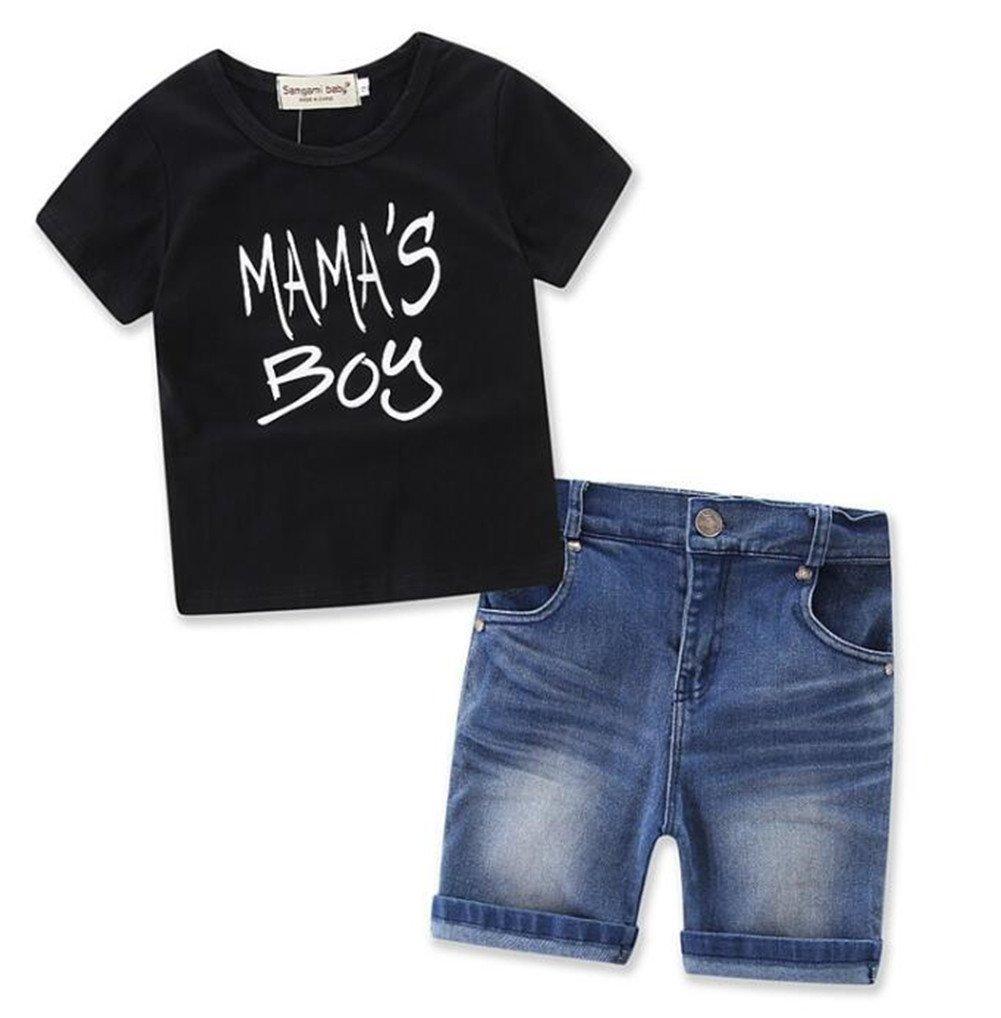 Summer 2Pcs Outfits Kids Baby Boys Mama's Boys Letter Print T-Shirt Top+Denim Shorts Pants Set Size 4T (Black)