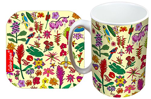 (Selina-Jayne Tropical Flowers Limited Edition Designer Mug and Coaster Gift Set)