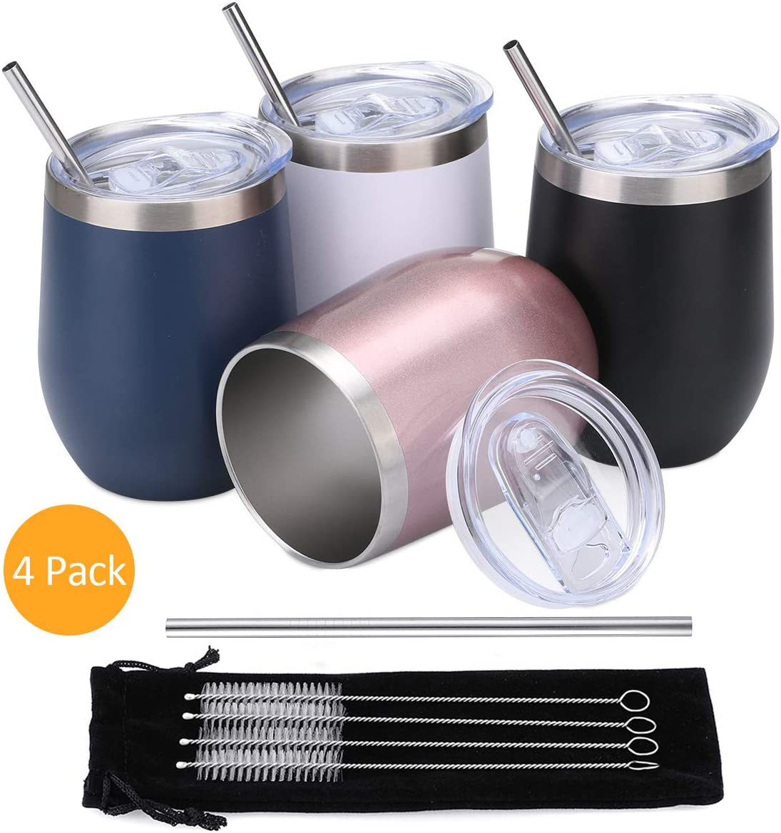 Comfook 4 Pack 12OZ Stainless Steel Wine Tumbler,Stemless Vacuum Insulated Wine Glasses with Straws Set and Spill Proof Lid for Parties,Bars,Home, Work, Travel, Fashion