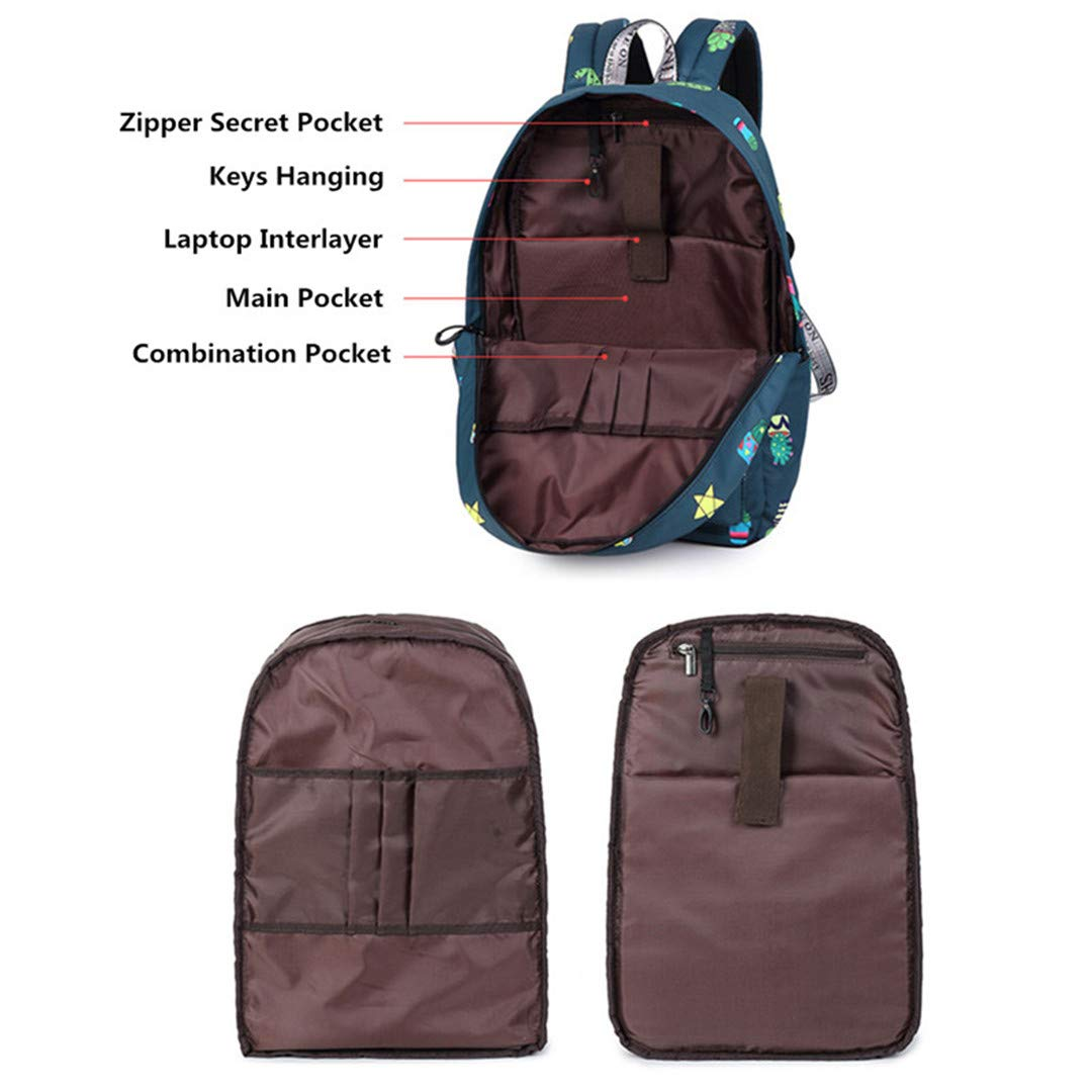 Large Capacity Girl Waterproof Print Travel Laptop Backpack