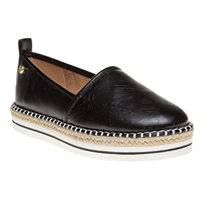 LOVE Moschino Women's Embossed Logo Espadrille Black Shoe
