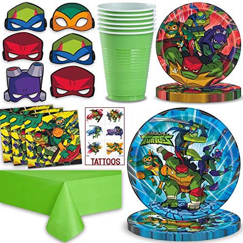 Teenage Mutant Ninja Turtles Party Supplies for 16 - Large Plates, Dessert Plates, Napkins, Cups, Table cover, Masks, Tattoos - Great TMNT Birthday Set w/Leonardo, Donatello, Michelangelo & Raphael