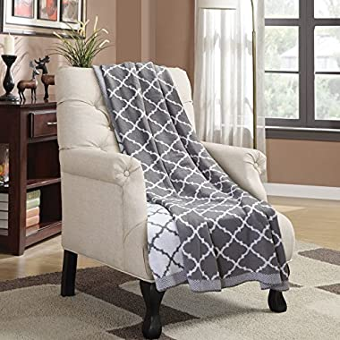 Bedsure Designs Knitted Throw Blanket, Trellis Pattern,50 x60  - Grey