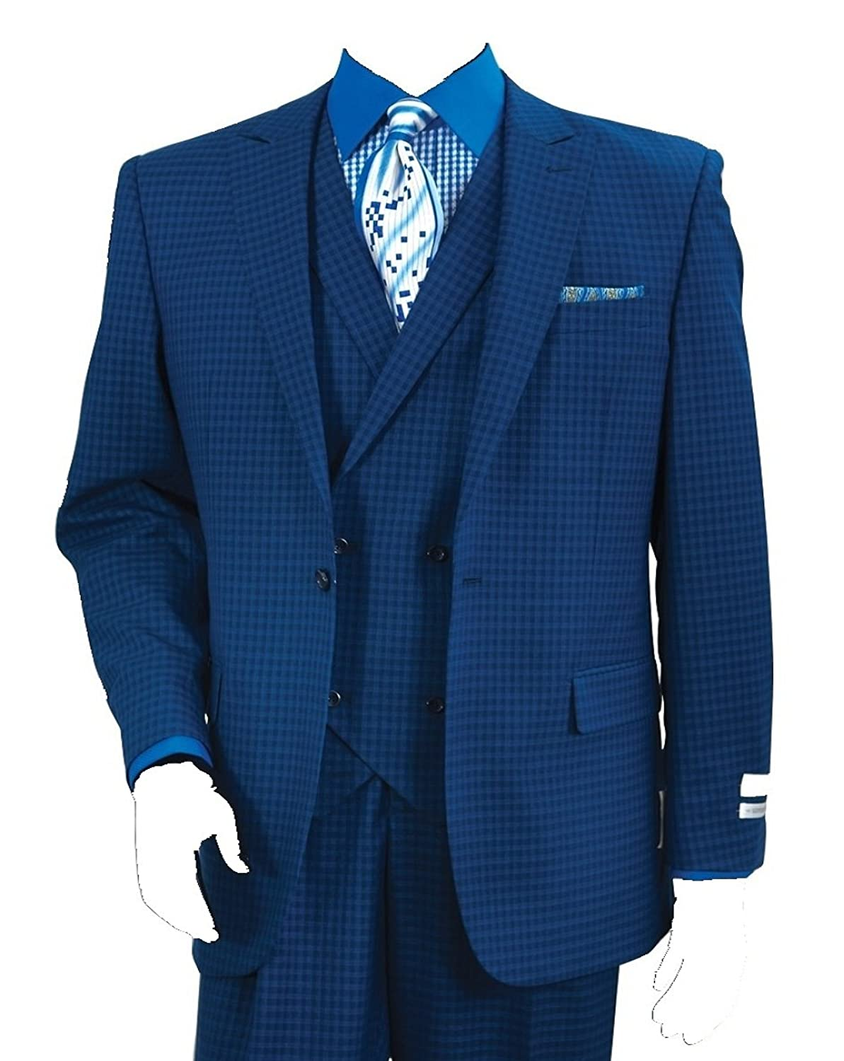 1940s Men's Suit History and Styling Tips Mens 3 Piece Single Button Mini-Plaid Pattern Suit (Indigo) $149.99 AT vintagedancer.com