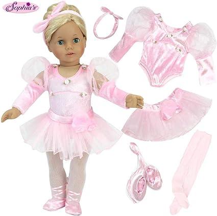"Doll Clothes 18/"" Dolls Ballerina Dress Pink Slipper Fits American Girl Dolls"