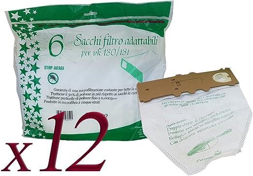 Bolsas de microfibra para aspirador Folletto Vorwerk VK130 – VK131 2 Confezioni da 6 Sacchetti: Amazon.es: Hogar