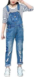 Girls Big Kids Distressed Denim Overalls Blue Jeans Strecthy Ripped Jeans Romper JunMar-180311-69