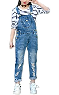 bacc00762b Girls Big Kids Distressed Denim Overalls Blue Jeans Strecthy Ripped Jeans  Romper