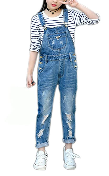 Girls Big Kids Distressed Denim Overalls Blue Jeans Strecthy Ripped Jeans Romper (11-12 Years, Blue Distressed) best girls' overalls