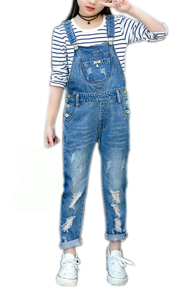 Girls Big Kids Denim Overalls Blue Jeans Strecthy Ripped Jeans Romper 150 Blue