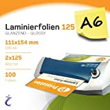A6 Pack of 100 laminating pouches 11.1 x 154 mm 2x125 Mic Gloss Printation Premium Laminating Pouches