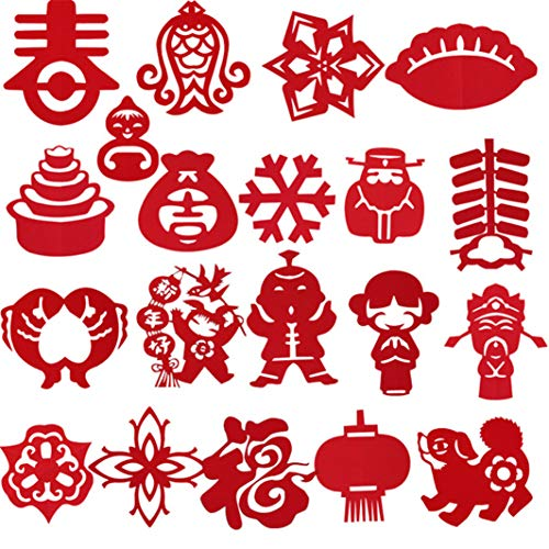 YouCY 60Pcs Chinese Paper-cut Chinese New Year Gifts Hand Crafted Paper Cut For Kids Art Crafts Diy Toys Red Paper