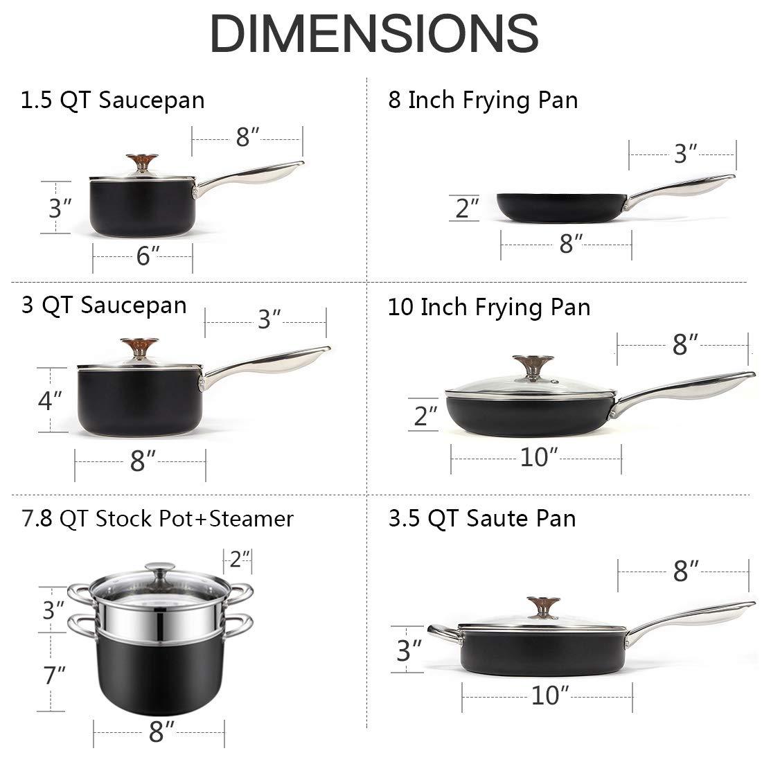 Copper Saucepan with Nonstick Granite Interior Coating /& Hammering Exterior MICHELANGELO 1.5 Quart Sauce Pan with Lid