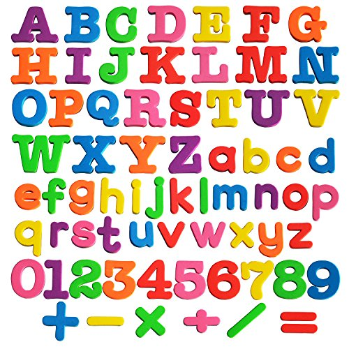 Kadron 68Pcml Magnetic Letters ABC Magnets Alphabet Magnets-Educational Refrigerator Magnets-68Piece, Green/Blue/Orange/Red/Yellow/Purple/Pink