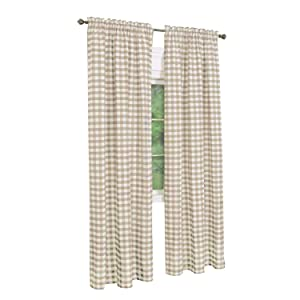 GoodGram Buffalo Check Plaid Gingham Custom Fit Window Curtain Treatments - Assorted Colors & Sizes (Taupe, Single 84 in. Panel)
