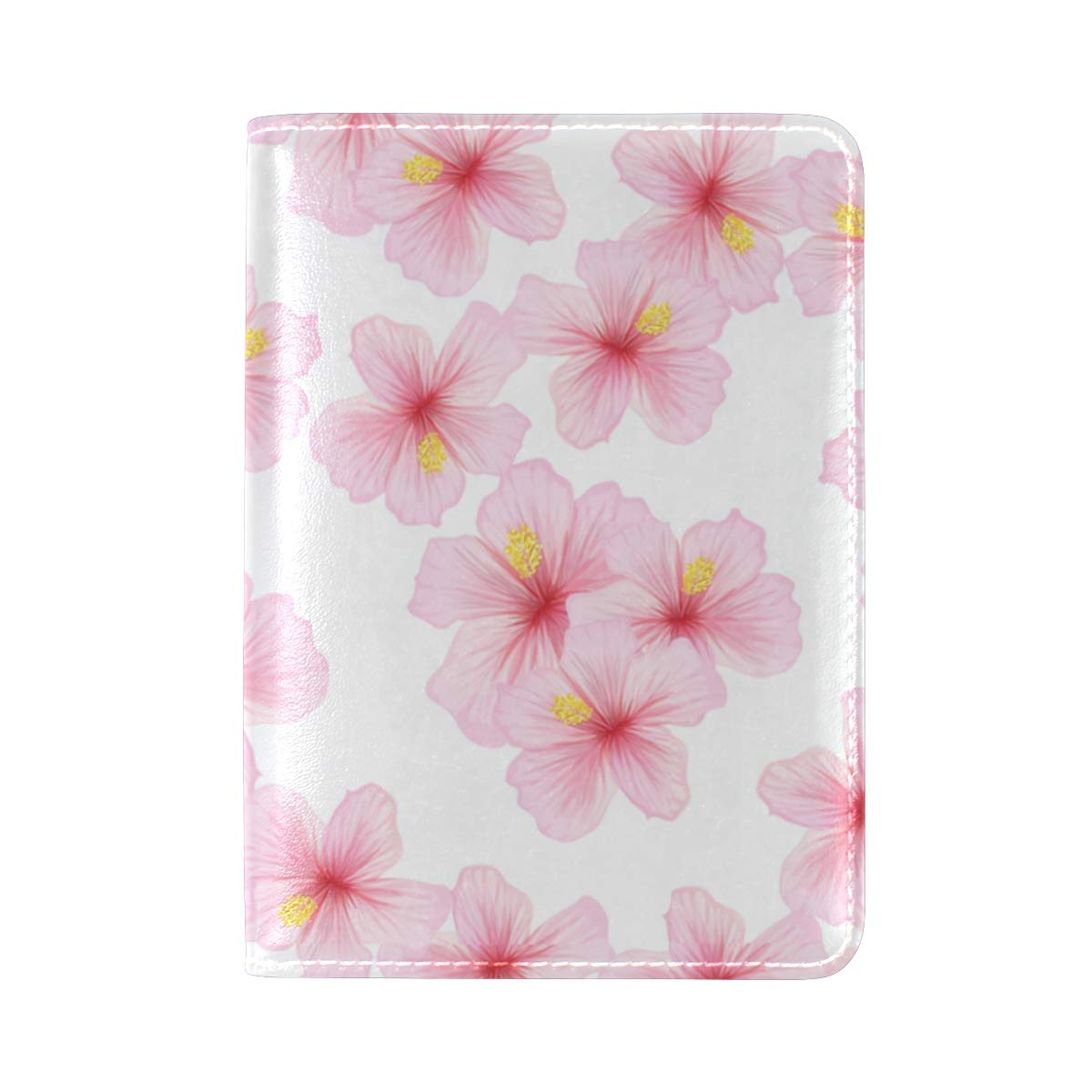 Japanese Cherry Pink Flower Sakura One Pocket Leather Passport Holder Cover Case Protector for Men Women Travel