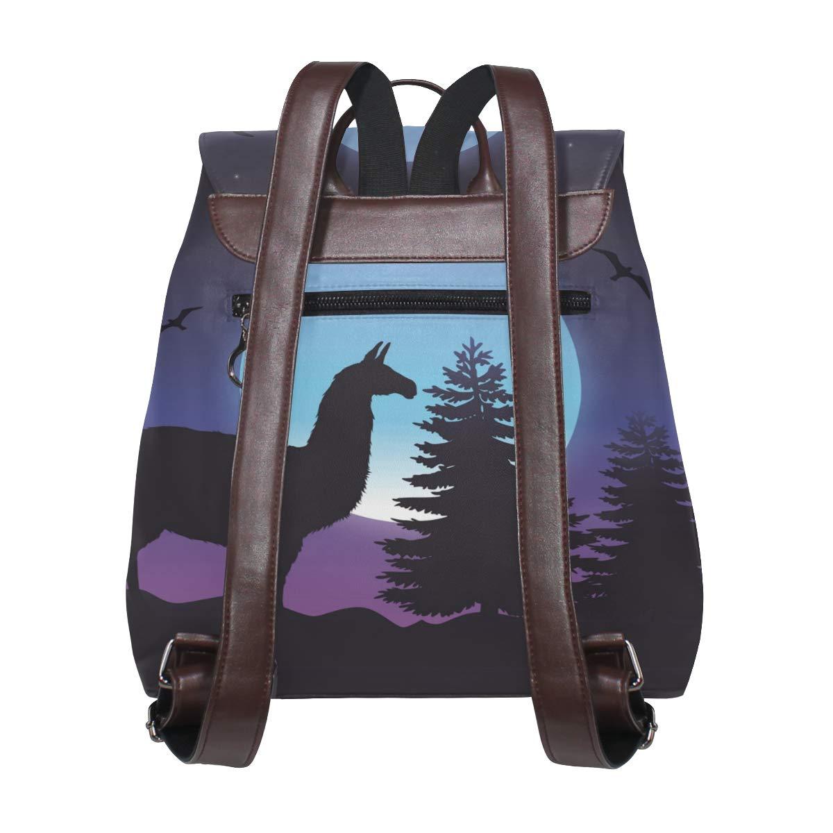 Women PU Leather Fashion Backpack Purse Grey Raccoon Travel School Shoulder Bag Girls Ladies Daypack Handbags