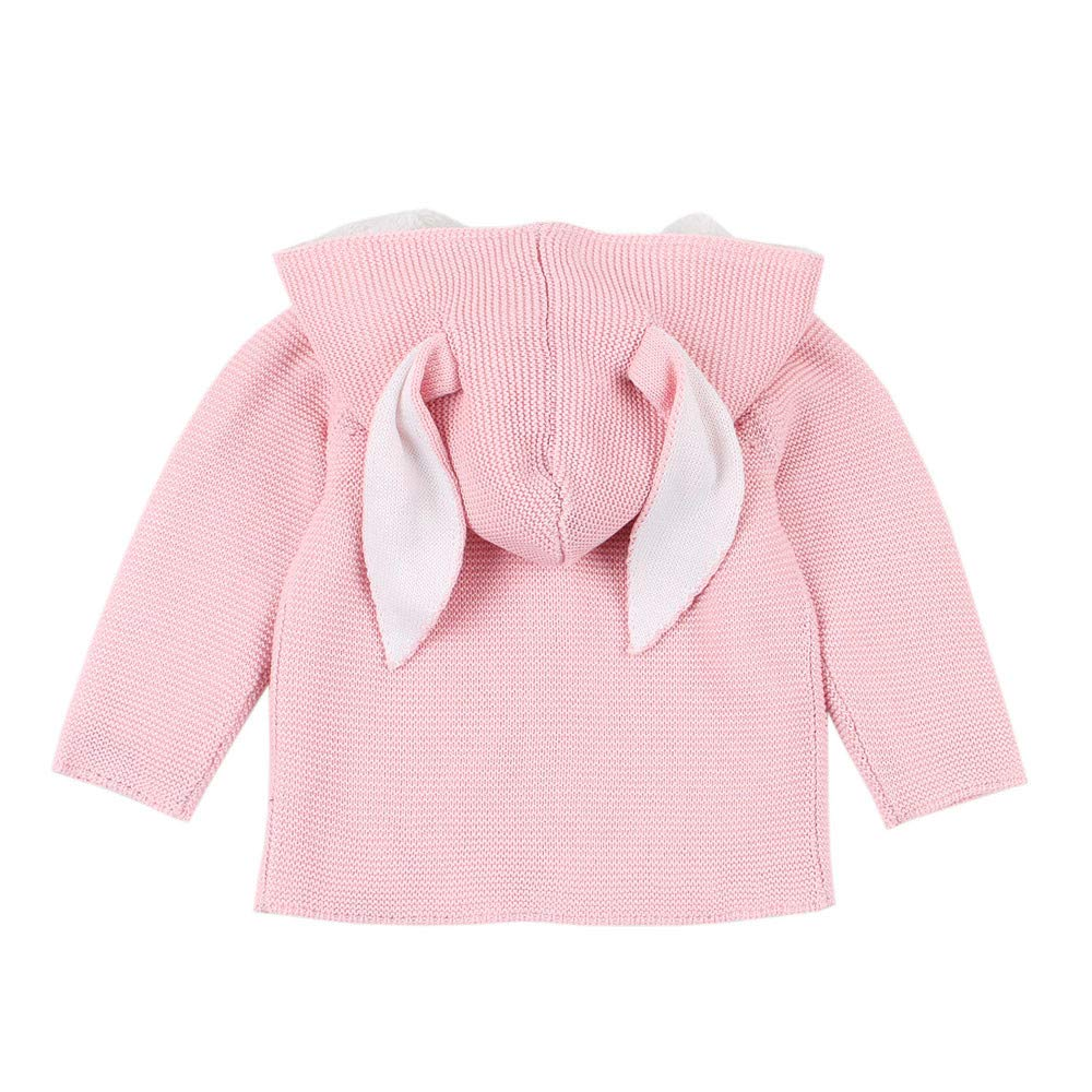 Theshy Toddler Baby Boys Girls Rabbit Ears Hooded Knitted Tops Warm Coat Clothes Hooded Knit Coat for Baby Girl