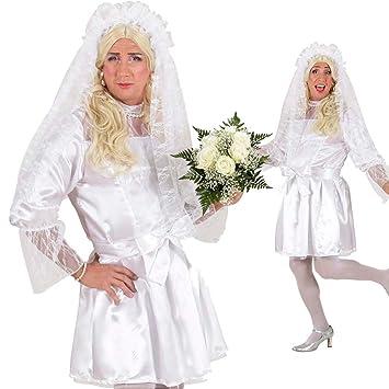 Braut Kostüm Drag Queen Kleid weiß XL 54/56 Männer Brautkleid Herren ...