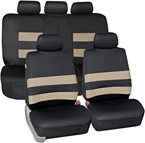 FH Group FB087BEIGE115 Premium Neoprene Seat Cover (Water Resistant/Airbag/Split Bench Compatible) Cushion