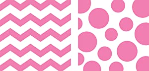 Creative Converting 192-Count Chevron and Polka Dots Paper Beverage Napkins, Candy Pink