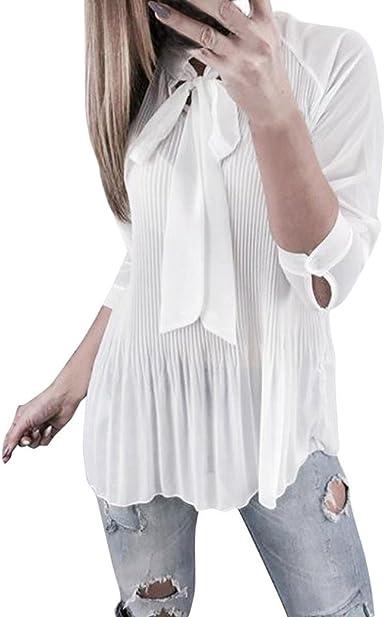 PAOLIAN Blusa de Mujer Manga Largas Otoño 2018 Camisetas Ropa para Mujer con Volantes Sexy Blusa Casual Hueco Camisa Anudar Cruz de Ropa Fiesta: Amazon.es: Ropa y accesorios