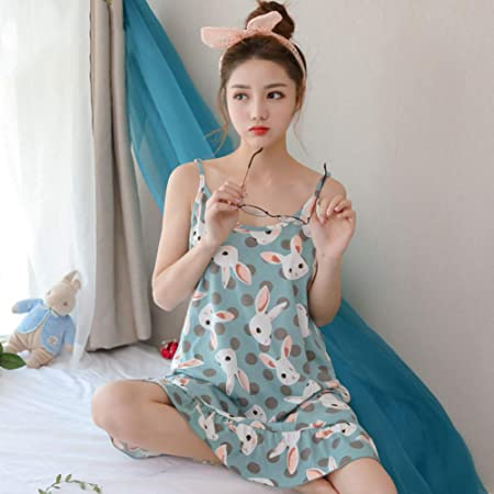 HIUGHJ Pijamas Sin Mangas Ropa de Dormir Lencería Mujer Camisones de algodón Camisas de Dormir Camisón Camisas de Mujer Verano: Amazon.es: Hogar