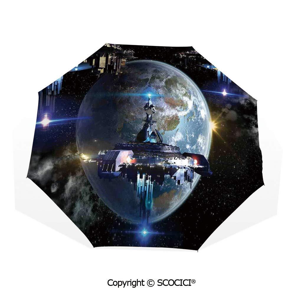 Earth Outer Space Milky Way Sun/&Rain Automatic Umbrella Windproof Travel UV