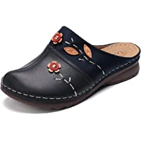 gracosy Zuecos para Mujer Cuero PU Verano Loafer Tacón Bajo Mules Planos Zapatos Zapatillas de Playa Antideslizantes…