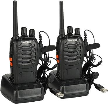 Walkie Talkie Baofeng BF-88E Profesional, PMR446 Libre de Licencia, 16 Canales, Walkie Talkie Recargables USB, versátil y fácil de Uso con Auriculars (2 pcs): Amazon.es: Electrónica