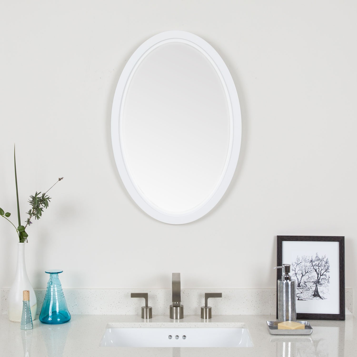 Maykke fiona 26 h x 18 w oval white wall decor bathroom - White wood framed bathroom mirrors ...