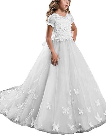 a2f7426e381a9e Beyonddress Mädchen Hochzeit Fest Blumenmädchen Kleider Bodenlanges  Kinderkleid Kommunionkleid Ballkleid Partyskleid mit Ärmeln(Weiß,