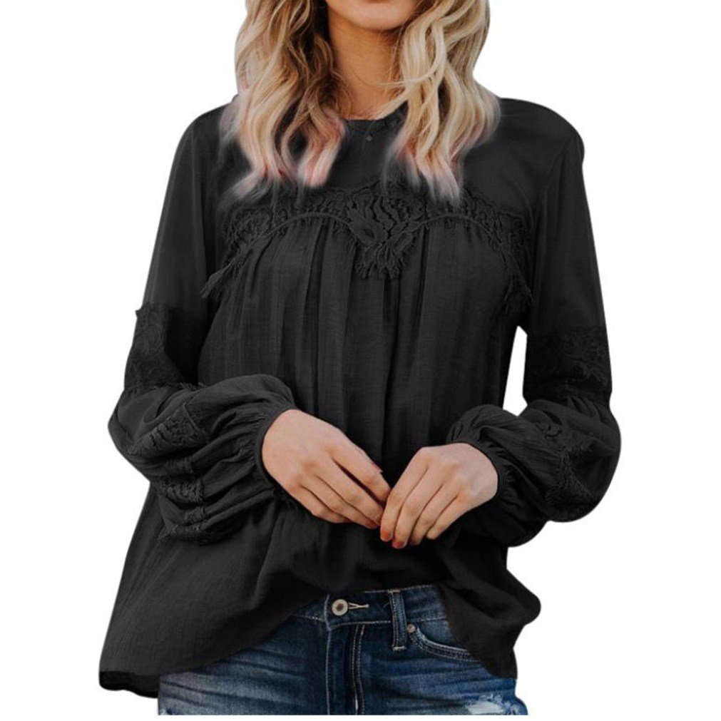 Women Sexy See-Through Puffy Long Sleeve Blouse Casual Solid Loose Tops T-Shirt(Black,large)