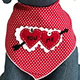 Tail Trends Valentines Day Dog Bandanas with Cupids Arrow Heart Design Fits Medium to Large Sized Dogs - 100% Cotton (M)