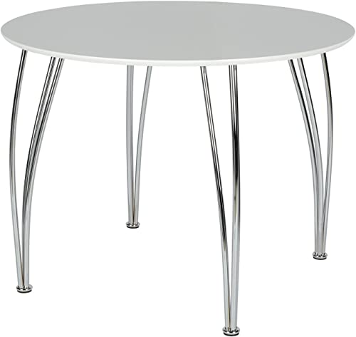 Novogratz Round Dining Table with Chrome Plated Legs, White