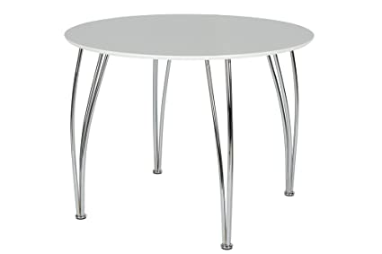 Attrayant Novogratz Round Dining Table With Chrome Plated Legs, White