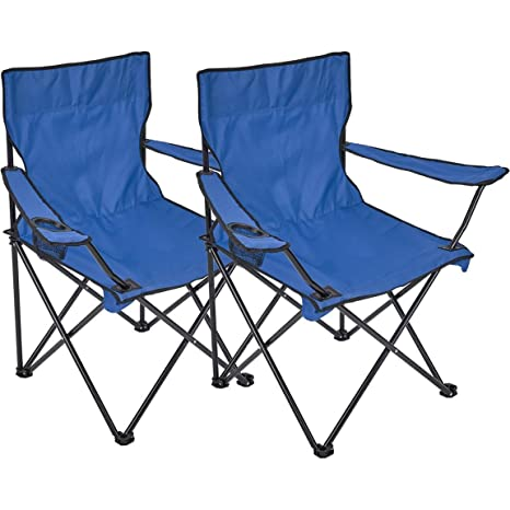 Silla plegable, 2 unidades, silla de camping con soporte para bebidas en reposabrazos, azul