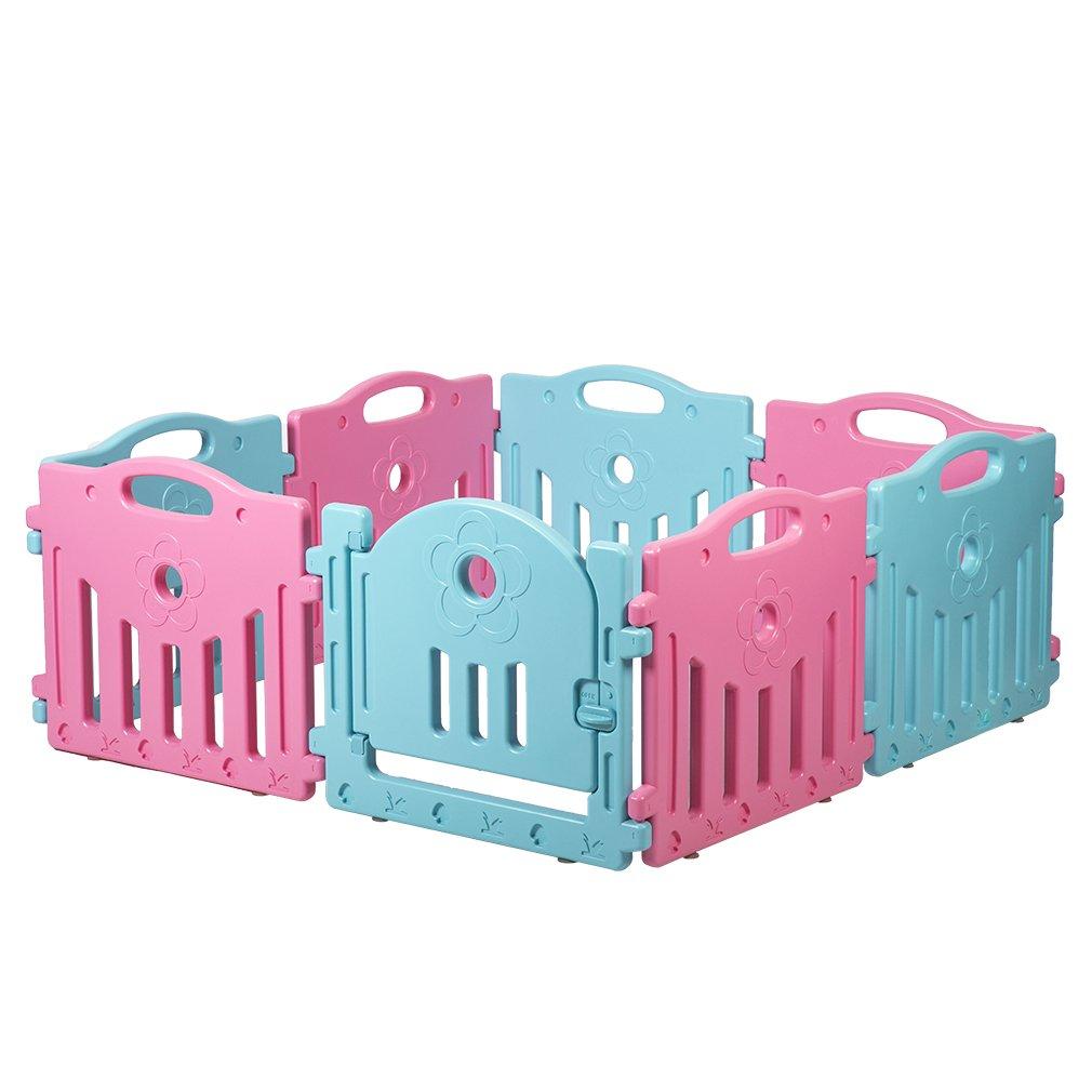 Baby Playpen 8 Panel Playard Kids PlaySafe Activity Center with Locked Door