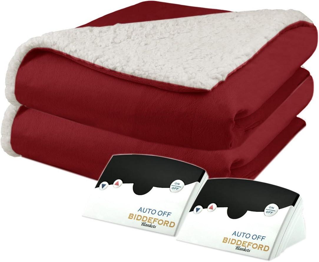 Biddeford 6003-9051136-300 Micro Mink and Sherpa Heated Blanket Queen Brick