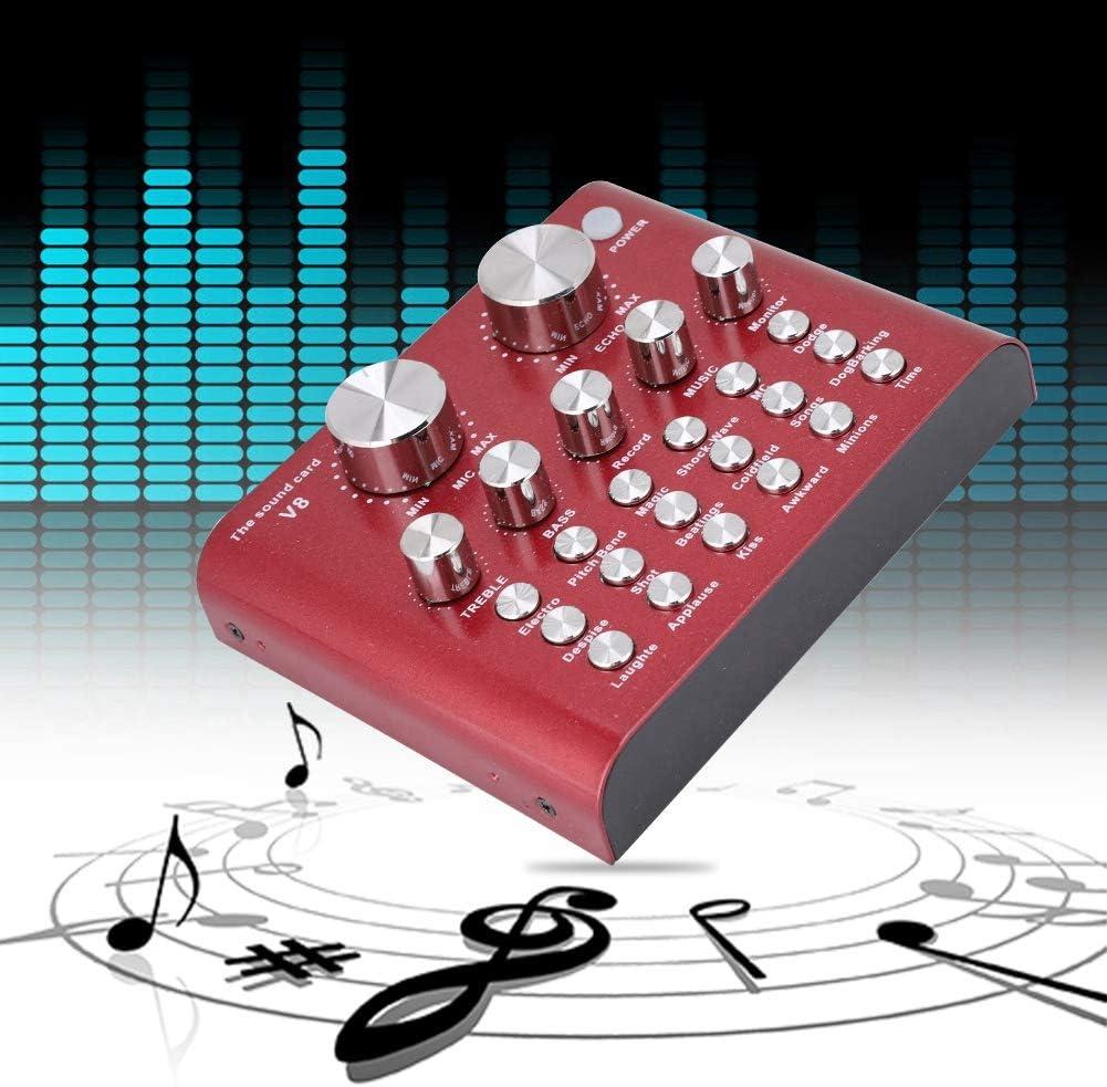 Taidda Computer PC Live Soundkarte Externer USB Audio Mixer Mobile Live Karaoke Mikrofon Soundkarte f/ür Computer PC