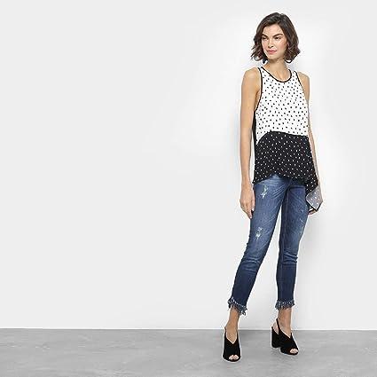 301b023d5 Calça Jeans Cigarrte Colcci Bia Barra Desfiada Puídos Cintura Média Feminina  - Azul - 40: Amazon.com.br: Amazon Moda