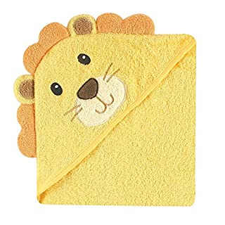 Luvable Friends Unisex Baby Cotton Animal Face Hooded Towel, Lion, One Size