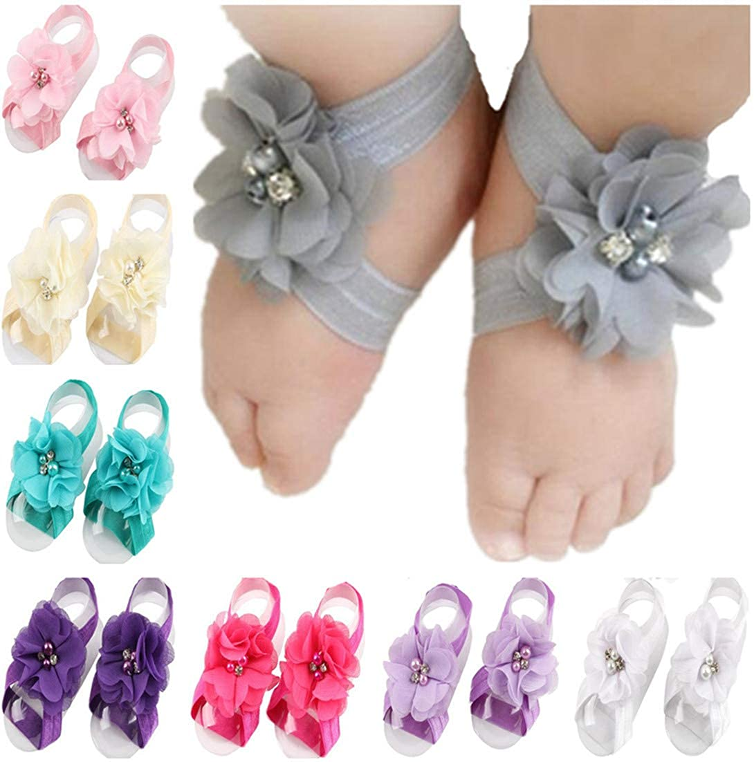 7a4b122e189b0 Toptim Baby Girl's Barefoot Sandals Flower for Toddlers (10 Mix Colors)