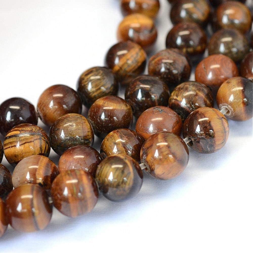 Perla Ojo de Tigre, Piedras Preciosas, 8 mm, Piedra Natural Redonda, Perla con Agujero para enhebrar, Piedra Preciosa, Ojo de Tigre G70
