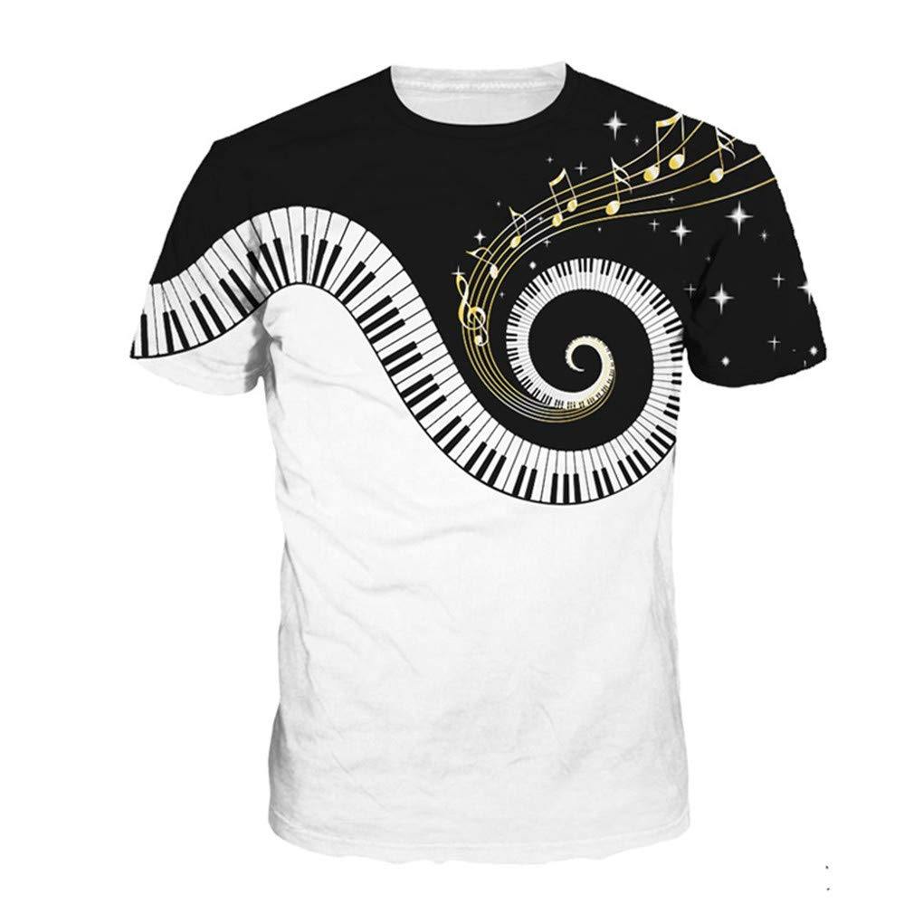 Summer Men Funny Piano Music 3D Print Tops Hip Hop Tee Short Sleeve O-Neck T-Shirt Unisex Streetwear