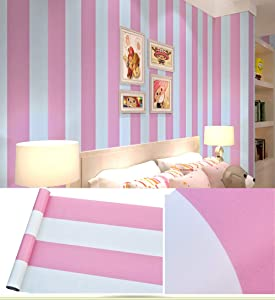 GLOW4U Peel and Stick Vinyl White and Pink Striped Contact Paper Wallpaper for Girls Nursery Room Bedroom Walls Shelves Cabinets Dresser Drawer Table Furniture Classroom 17.7x117 Inches